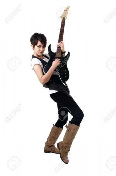 Punk Rockstar Playing Guitar Isolated In White Stock Photo