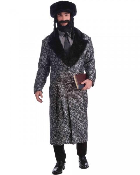 Cl837 Silver Rabbi Jewish Religious Coat Tails Fancy Dress Mens