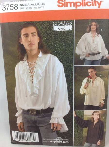 Simplicity 3758 Mens Historical Costume Pattern Romantic Poet