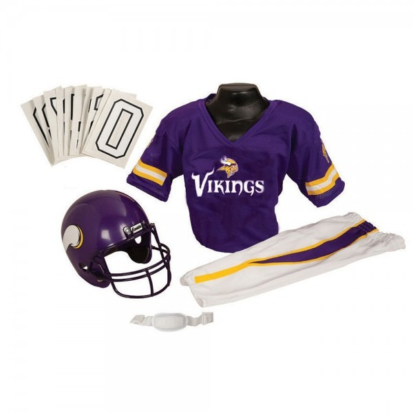 Minnesota Vikings Youth Nfl Deluxe Helmet And Uniform Set (medium