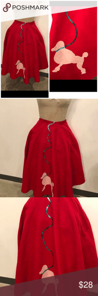 Vintage Red Felt Poodle Skirt With Petticoat M L Elastic Waist