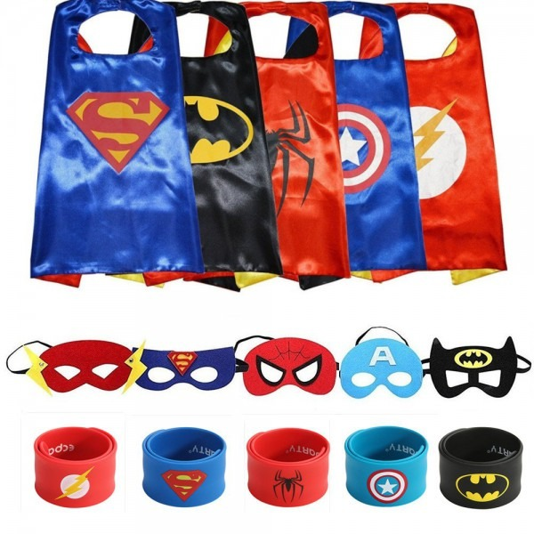 Amazon Com  Ecparty 5 Different Superheros Cape And Mask Costumes