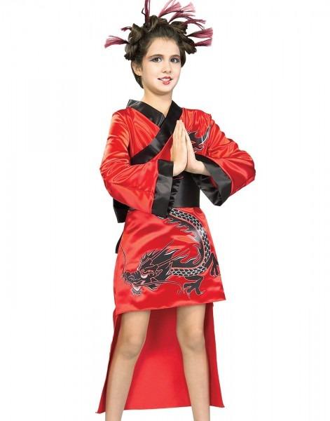 Amazon Com  Girls Red Dragon Girl Geisha Costume