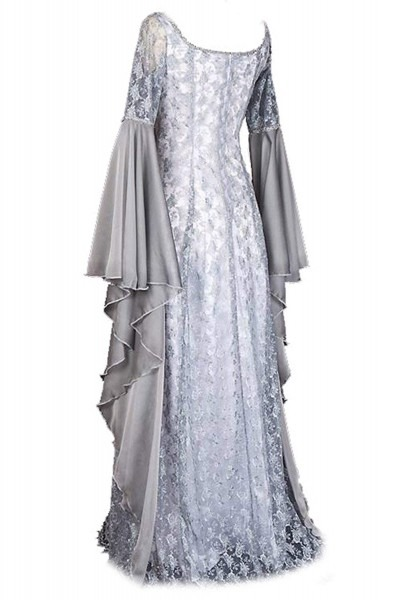 Women's Halloween Irregular Long Dress White Medieval Renaissance