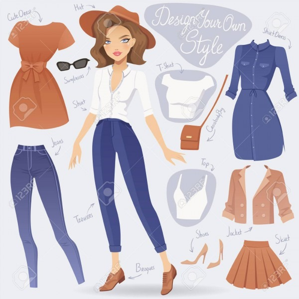 Cartoon Dress Up Fashion Girl Character  Vector Female