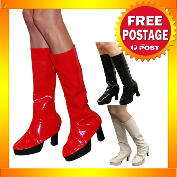 As62 60s 70s Black White Red Boot Covers Adult Halloween Costume