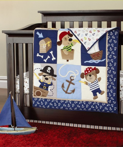 7 Pieces Embroidery 3d Pirates Of The Caribbean Baby Bedding Set
