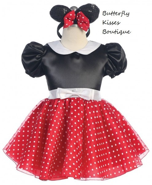 Darling And Dainty! Black & Red Minnie Mouse Infant Costume Has A