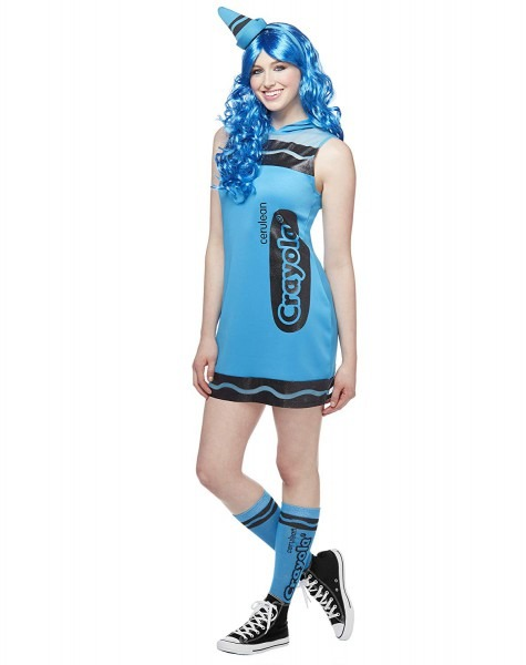 Amazon Com  Spirit Halloween Cerulean Blue Adult Crayon Dress