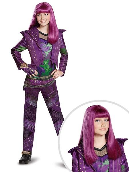Amazon Com  Descendants Mal Costume Kit Kids Medium With Wig  Clothing