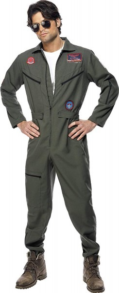 Smiffys Men's Top Gun Pilot Costume, Jumpsuit, Dog Tags