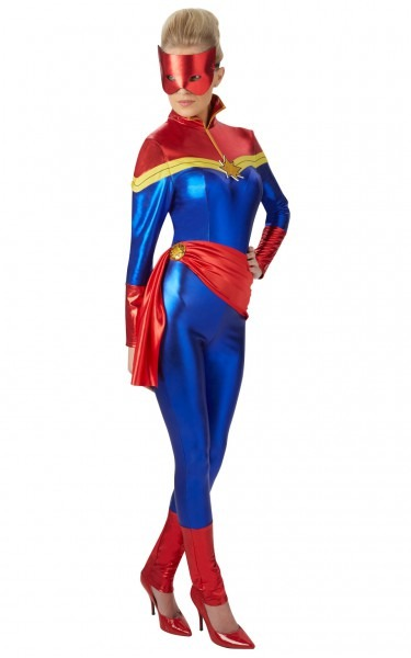 Womens Ladies Captain Marvel Fancy Dress Costume Outfit Rubies