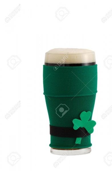 Full Beer Glass In Green With Black Belt Leprechaun Suit For