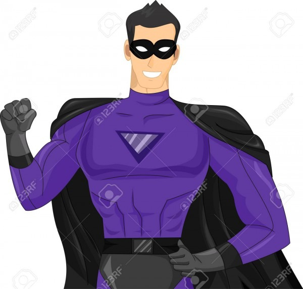 Illustration Featuring A Young Man Wearing A Purple Superhero