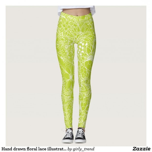 Hand Drawn Floral Lace Illustration Lime Green Leggings