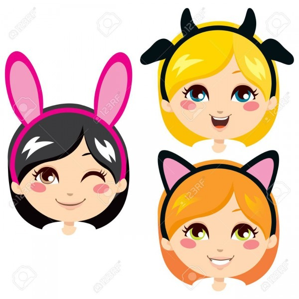 Three Sweet Girl Heads Wearing Animal Costume Headbands For