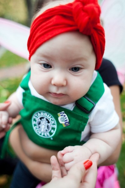 A Baby Dressed As A Starbucks Barista  How Awesome Is That ! From