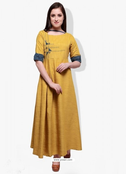 Buy Fab Yellow Cotton Rayon Kurti From India At Yosari Com   Model