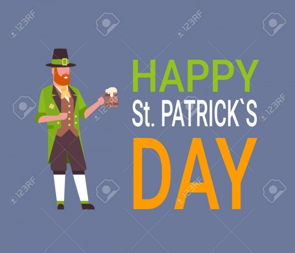 Happy St  Patrick's Day Card With Man In Green Leprechaun Suit