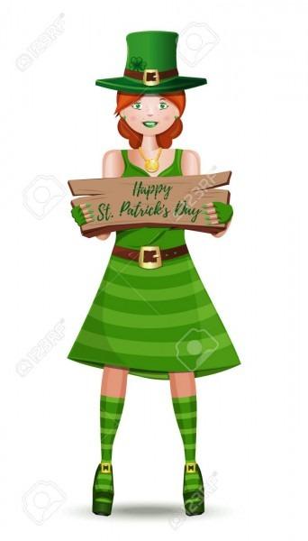 Leprechaun Girl Congratulates On St  Patricks Day  Cute Girl