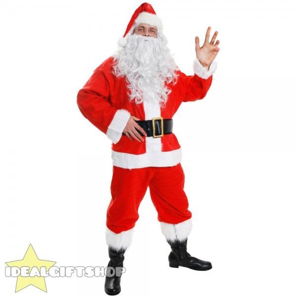 Adults 7 Piece Santa Claus Suit Father Christmas Costume Mens Xmas
