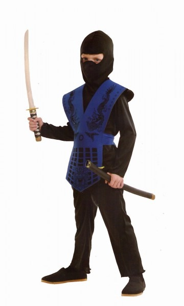 Boys Child Blue Black Ninja Suit Costume Kids Mortal Kombat Karate
