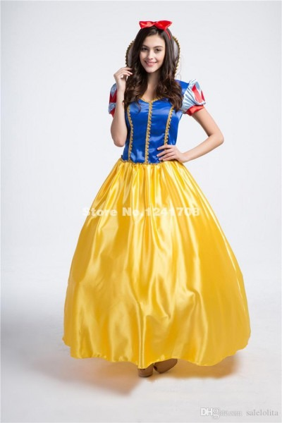 Adult Blue And Yellow Print Cosplay Snow White Princess Dress
