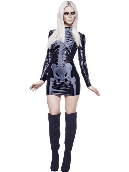 Adult Fever Miss Whiplash Skeleton Costume