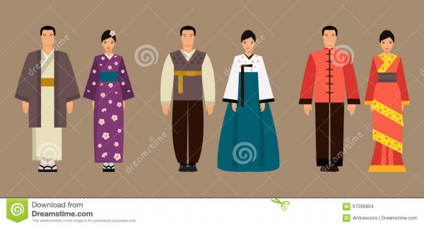Asian Men And Women In National Costumes  Vector Illustration
