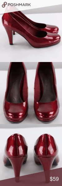Ruby Red Dorothy Heels Size 9 5 Rounded Toe Shiny Red Color