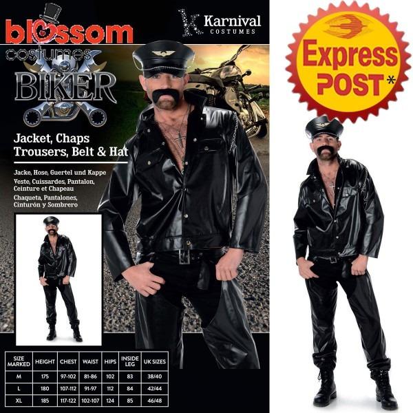 Ca239 Biker Ymca 70 80's Retro Stag Do Fancy Dress Mens Costume