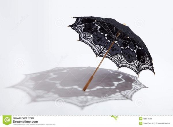 Black Battenburg Lace Parasol And Shadow Stock Image