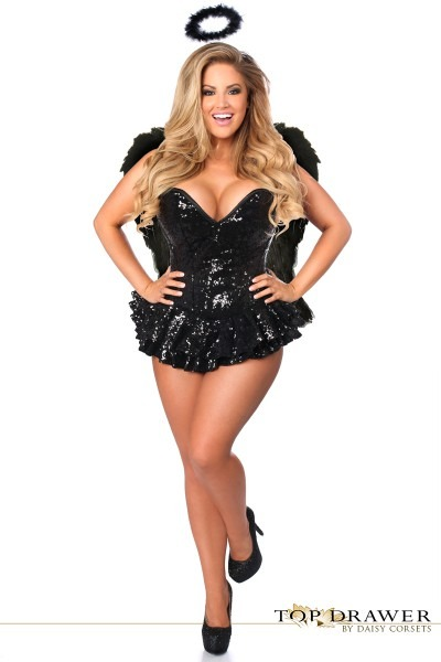Black Sequin Dark Angel Corset Halloween Costume
