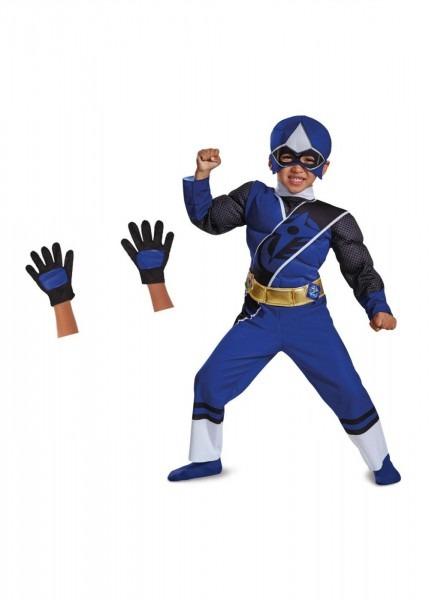 Blue Power Ranger Toddler Boys Costume And Gloves Set