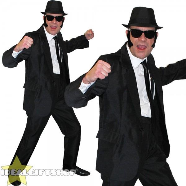1980s Mens Blues Black Suit Costume Film Fancy Dress Glasses Hat