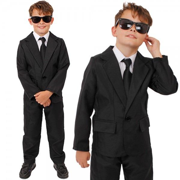 Child Secret Agent Costume Black Suit Glasses Tv Film Fancy Dress