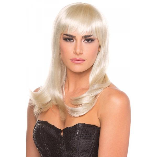 Long Straight Hollywood Wig Platinum Blonde