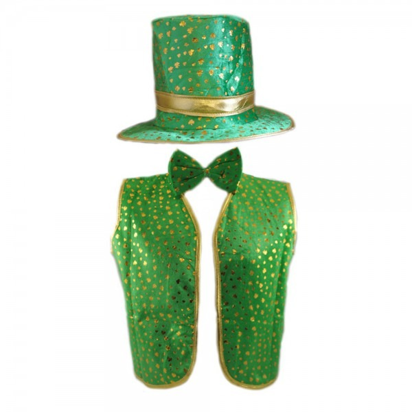 3 Piece (hat, Waistcoat & Bow Tie) Green & Gold Leprechaun Costume