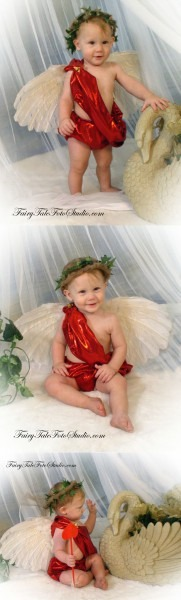Baby Boy Cupid Costume Angel Valentine's Day Portrait Poses