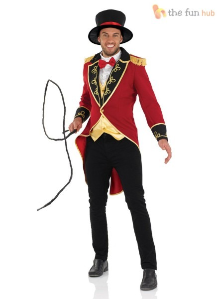 Deluxe Adult Male Ringmaster Costume Mens Circus Fancy Dress Lion