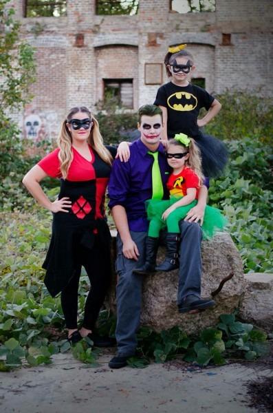 Batman & Robin Joker & Harley Quinn Family Halloween Costumes