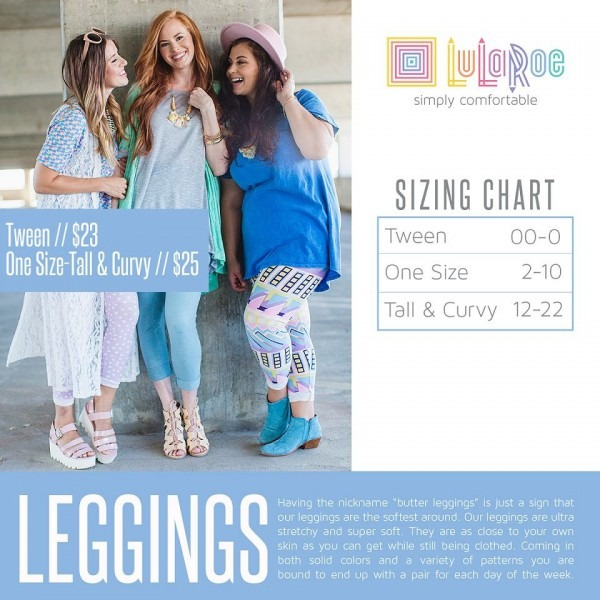 Sizing Chart For Adult Leggings