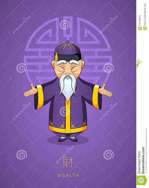Cartoon Hand Drawn Asian Wise Old Man In Traditional Clothes On