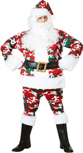 Camo Santa Suit Camouflage Red White Green Christmas Adult Costume