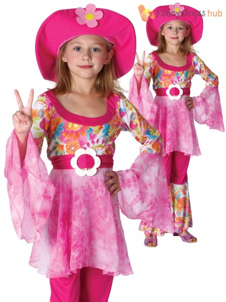 1960's Girls Hippy Diva Fancy Dress Costume Kids Childrens Flower