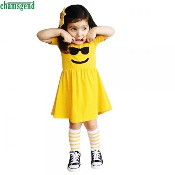 Chamsgend Toddler Infant Kids Baby Girls Dress Emoji Emoticon