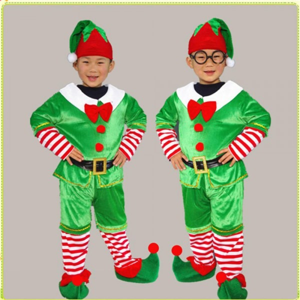Children's Christmas Cosplay Santa Green Elf Costs Kids Tops