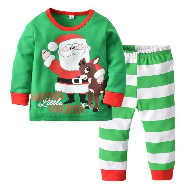 Children Clothing Set Garment Santa Printing Pajamas Suit Girl