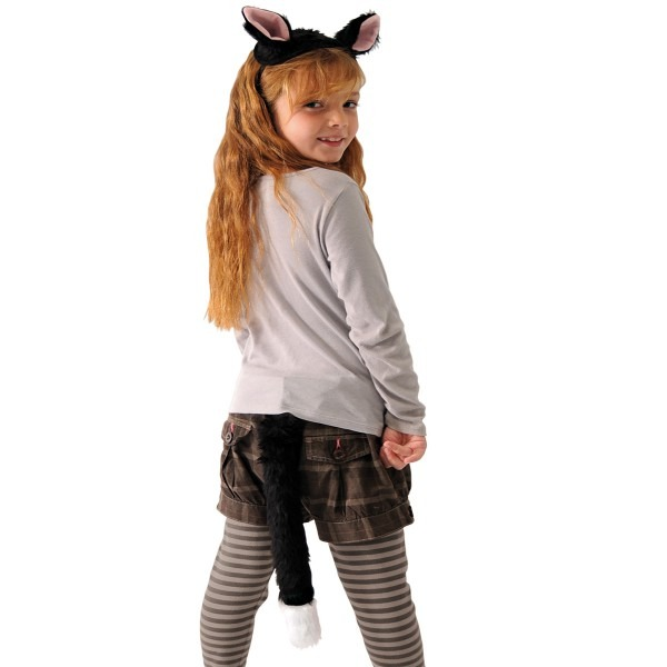 Childrens Cat Costume Ears And Tail Set Boys Girls Fancy Dress