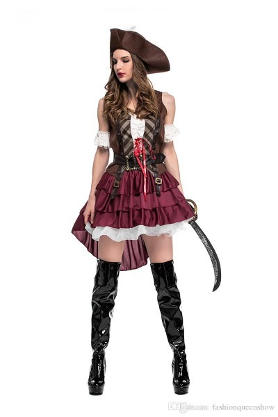 Classic Sexy Women Pirate Costume Vintage Gothic Fancy Dress
